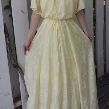 1970s Yellow Grecian Dress Maxi Hippie Formal Gown Vintage 70s XS