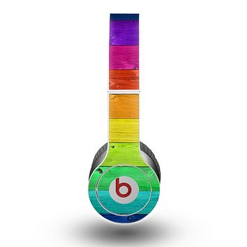 The Rainbow Highlighted Wooden Planks Skin for the Beats by Dre Original Solo-Solo HD Headphones