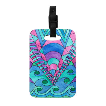 "Rosie Brown ""Gatsby Inspired"" Blue Pink Decorative Luggage Tag"