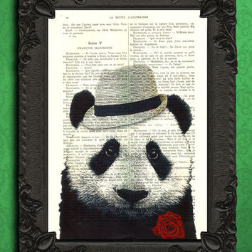 panda bear art print, mafia panda book page print // italian style panda - mafia party decor - panda book page art