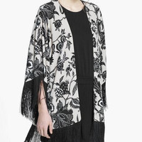 White And Black Floral Print Fringed Sleeve Kimono