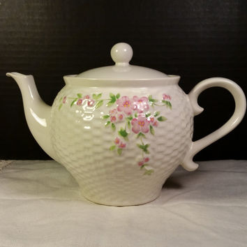 Teleflora Teapot with Basketweave Pattern with Old Roses 1985 Cream Colored Porcelain Teapot with Pink Rose Spray