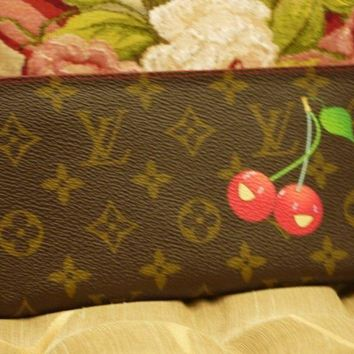 AUTH LOUIS VUITTON CHERRY CERISE LONG ZIPPY WALLET ORGANIZER MURAKAMI