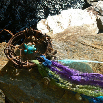sea turtle dreamcatcher seashells starfish turquoise turtle sari grapevine boho hipster hippie gypsy beach native american inspired style