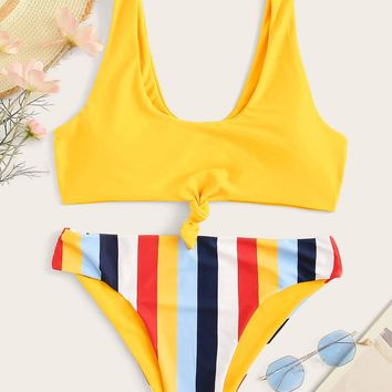 Knot Front Top With Striped Bikini Set