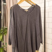 Relaxed V-Neck Knit Sweater, Charcoal | Democracy