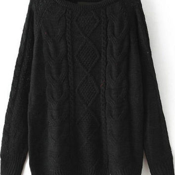Fall Fashion Cable Knit Loose Black Sweater