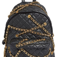 'Letters' Chain Wrapped Quilted Leather Backpack
