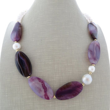 Agate necklace, beaded necklace with pearls, purple choker, stone necklace, uk gemstone jewellery, italian jewelry, gift for her, gioielli