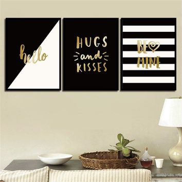 Modern Black And White Picture Art Minimalism Gold Letters Hello Canvas Paintings Nordic Poster Decor Living Room Wall A4 Prints