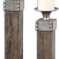 High Pointe Furnishings, Luc Natural Wood Candleholders, Set of 2