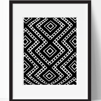 Home Decor, Black White, Tribal, Art, Wall Art, Wall Decor, Living Room, Digital Print, Printable, Instant Download, Decor, Home, Bedroom