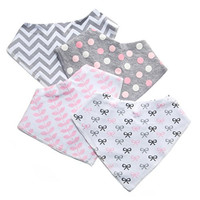 Baby Bandana Drool Bibs for Girls - 4 Pack of Leak Proof Burp Cloths - Cute Bib of Soft Absorbent Cotton & Waterproof TPU Lining - Keep Your Babies Dry - Perfect for Feeding, Teething & Shower Gift