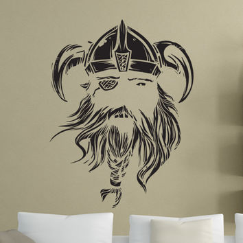 Vinyl Wall Decal Sticker Viking Face #1494