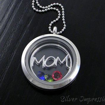 Mom Floating Locket / Personalized Mom Necklace / Memory Locket