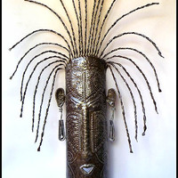 "Wall Mask in Handcrafted Metal - Haitian Steel Drum Art - 9"" x 22"""