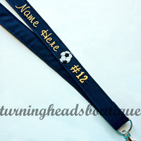 Sports Fabric Lanyard ID Badge Holder / Soccer Lanyard / Mongrammed with split ring attachment