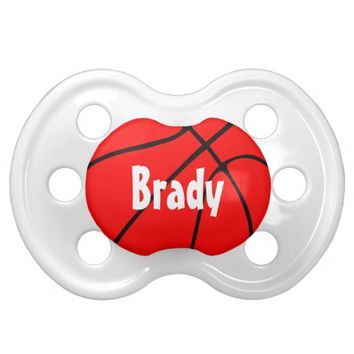 Red Basketball Custom Baby Name Pacifier