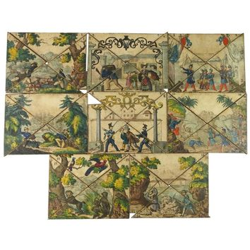 French 19th Century Toy Puzzle Board Game Tiles, circa 1840