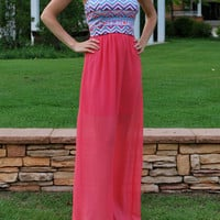 Afternoon Breeze Maxi Dress - Coral