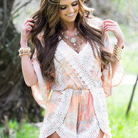 Like I Would Lace Trim Romper Peach/Coral