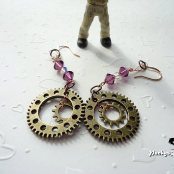 Steampunk Jewelry Earrings Purple Swarovski Crystals Antiqued Brass Colored Metal Gears On Nickel and Lead Free Ear Wires Copper Wire