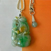 MEN JEWELRY Chinese jade dragon gourd pendant on chain