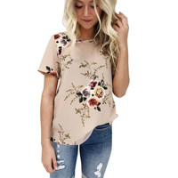 2017 Summer Women T Shirt Casual Loose Floral Printing Khaki Short Sleeve O neck Chic Cotton T-shirts Female Tops Tee