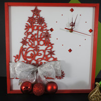 Christmas Decoration, Unique Wall Clock with Wooden Christmas Tree, Holiday Christmas Tree Wall Decor, Christmas Gift
