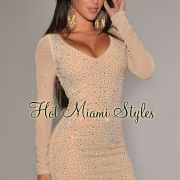 Nude Mesh Iridescent Allover Stones Dress