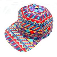GP Accessories Men's Geo Print Multi Color Stripe Snapback Large Red