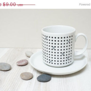 ON SALE Polka dot white black teacup cup saucer plate Europe Vintage Made in West Germany Retro porcelain decor tea coffee set Eversberg