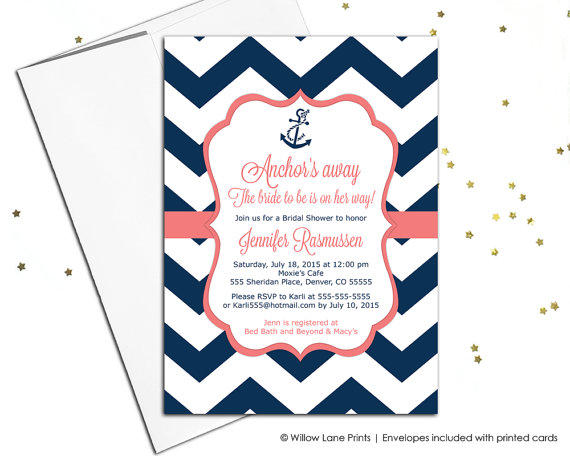 Nautical Bridal Shower Invitations Navy From