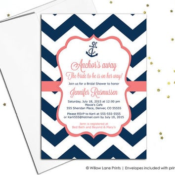 Nautical Bridal Shower Invitations Navy And C Wedding Chevron Invitation Anchor