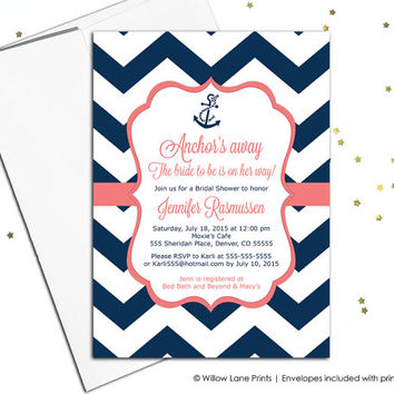 Nautical bridal shower invitations - navy and coral wedding shower invitations - chevron invitation - anchor - printable or printed (658)