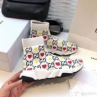Balenciaga trendy couple's color double G knitted socks shoes