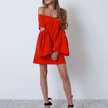Believe In Love Off-Shoulder Dress - Red
