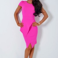 Ayzoe Magenta Pink Split Hem Peplum Bodycon Midi Dress | Pink Boutique