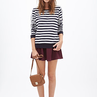 FOREVER 21 Quilted Striped Sweatshirt Navy/White