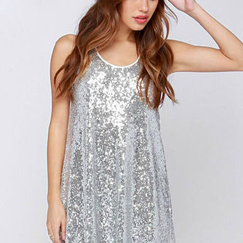 Embroidery sequins round collar sleeveless vest dress 156138B