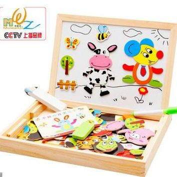 Multifunctional Wooden Toys Educational Magnetic Puzzle Animal Children Kids Jigsaw Baby Drawing Easel Board
