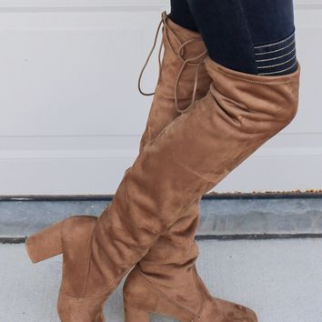 CHINESE LAUNDRY Kiara Camel Thigh High Boots