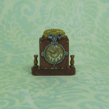 Dollhouse Miniature Blue Beaded Wood Mantel Clock