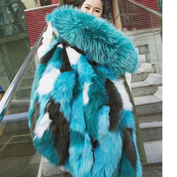 New Winter Women Warm Natural Fox Fur Liner Coat Detachable Long Parka Outwear With Real Raccoon Fur Trim Hood Plus Size