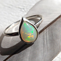 opal engagement ring, opal drop ring silver, white opal ring silver, drop opal ring, fine opal ring, welo opal ring, opal wedding ring