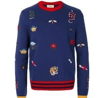 GUCCI autumn winter new men's knitted sweater embroidery circular collar trim cover head business casual men's clothes