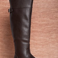 Breckelles Moto Motto Rider-24 Knee High Faux Leather Riding Boots - Brown