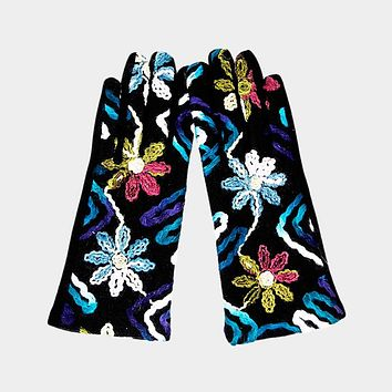 Touch Screen Yard Embroidered Gloves