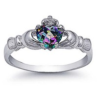 Sterling Silver Rhodium Plated, Rainbow Mystic Color CZ Claddagh Ring 9MM, 7