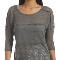 Mix Knit Dolman Top - Teen Clothing by Wet Seal